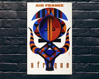 Afrique Travel Poster, Travel Print, Tourism Wall Art, Vintage Travel Poster Print, Sticker and Canvas Print