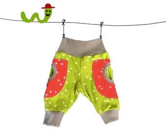 organic baby pants, green red baby pants, baby pocket pants, baby pants organic, toddler pants organic, organic toddler pants, pants for boy