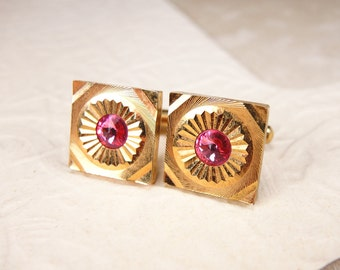 Gold Vintage Soviet Cuff links with pink crystals