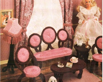 Victorian Fashion Doll Parlor Set, Plastic canvas Barbie dollhouse furniture patterns by Annie's Attic 225K.