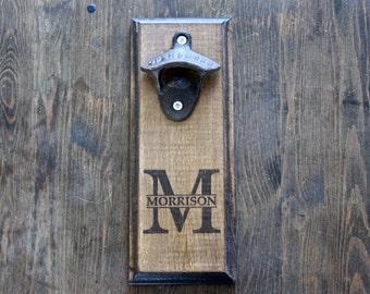 Personalized Wall Mount Rustic Bottle Opener - Your Name