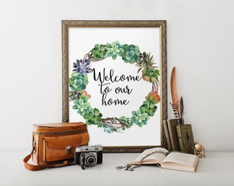 Welcome printable, Welcome sign, Welcome print, Welcome wall art, Welcome home, Home decor, Welcome poster, Watercolor print, Entryway BD837