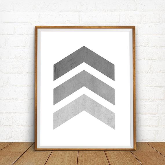 Grey Arrow Wall Decor : Gray chevron arrows art print wall bedroom decor