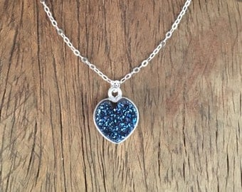 A Hearty Spark Necklace - Sterling Silver Necklace with Small Natural Druzy Heart in Dark Blue, Pendant in Sterling Silver Bezel