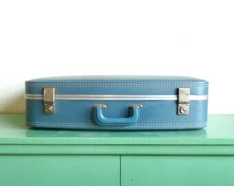 Vintage Blue Leather Suitcase