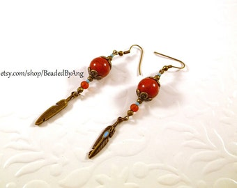 Red Turquoise Earrings, Bronze Feather Earrings, Rustic Earrings, Long Feather Earrings, Rustic Feather Earrings, Turquoise Earrings