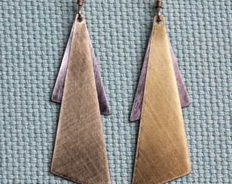 Gold-Metallic Aymmetric Wedge Earrings