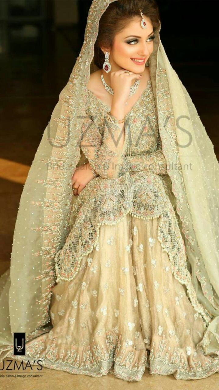pakistani bridal dress pastel green and pink heavy wedding