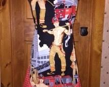 Hot Firemen Rockabilly Retro pinup Apron