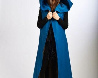 Blue Cashmere Top/ Hooded Oversized Coat/ Long Loose Sleeveless Coat/ Cashmere Jacket by Fraktura V0014