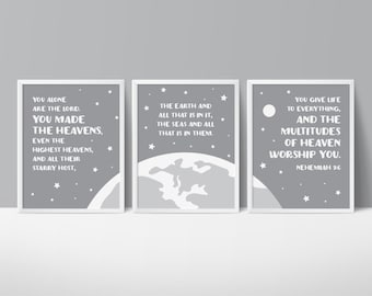 Space Themed Nursery, Star Printable Art, You Made The Heavens, Outer Space Wall Art, Star Bible Verse, Planets, Star Nursery, Nehemiah 9