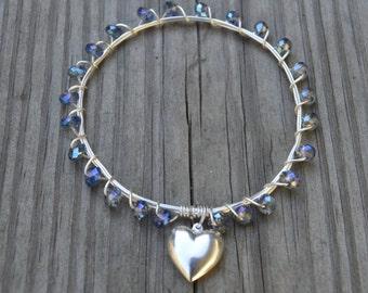 Blue Iridescent Crystal Bangle, Blue Crystal Bangle, Blue Crystal Bracelet, Crystal Bangle, Crystal Bracelet