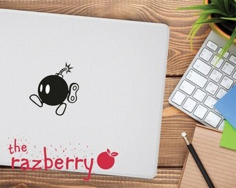 Mario Bomb Macbook Decal Bomberman Decal Luigi Macbook Decal Retro Old School Game Macbook Decal Vinyl Mario Bros Sticker Missile Decal