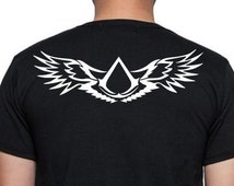 ASSASSIN'S CREED T-shirt, men's tshirt, front and back, logo, wings, black and white, Nihil Est Verus, Panton Est Licitus. gift, both sides