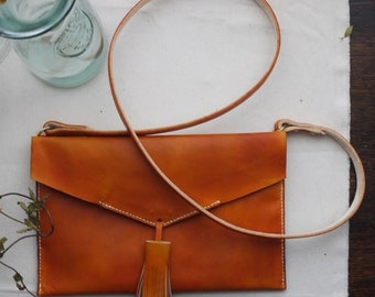 Statement tassel leather cross body handbag. leather bag.  Handmade in England.