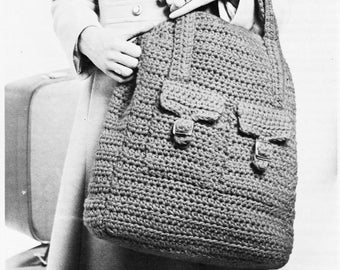 ALMOST FREE Instant PDF Download Vintage Crochet Pattern Hand Luggage Rucksack Large Holdall Carry All Travel Weekend Bag Handbag Air Travel