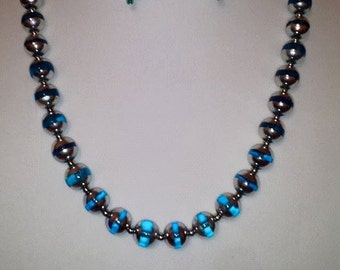 Silver & Blue Glass Bead Necklace Earring Set - Silver Blue Jewelry - Silver - Blue - Glass Bead - Woman's Necklace - Woman's Earring - Blue