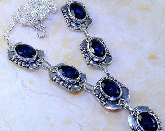 "Dark Blue Iolite Sterling Silver Necklace 19 3/4"" Princess Style"