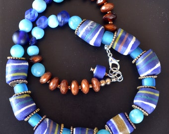 African Beads Necklace, Krobo, Trade Beads Necklace, Blue, Recycle Beads, Vintage, Beaded Necklace, African, Tribal, Ethnic (541) 50% SALE