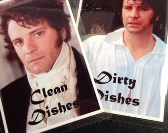Colin Firth | Mr. Darcy Reversible Dishwasher Magnet | Geek Kitchen | Clean Dirty  Magnet | Jane Austin | Pride and Prejudice