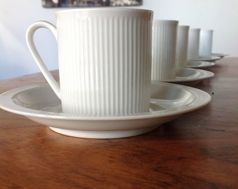 Arzberg Athena white demitasse cups and saucers - modernist - retro set