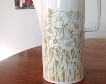 Hornsea Fleur Coffee Pot - vintage 1970s, retro pot, pitcher