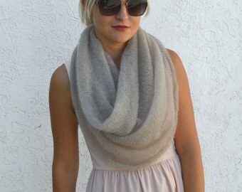 Beige scarf knit mohair infinity scarf mohair shawl knit circle scarf hand knit cowl lightweight scarf warm mohair beige cowl winter scarves