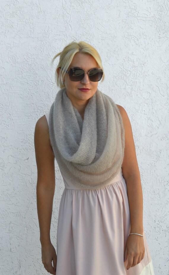 Infinity Scarf Knitting Pattern Mohair : Beige scarf knit mohair infinity scarf mohair shawl knit