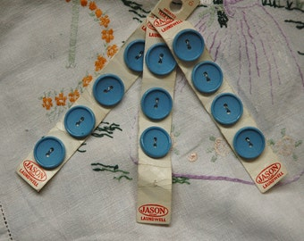 Vintage buttons on original card, 11 blue buttons 1.75cm /0.75 inch diameter