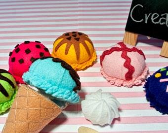 Handmade Felt Ice Cream Set B -Tropical Flavors. 2 cones&6 scoops of ice cream.Felt food, Felt Toys, Play food, toy food, ice cream set