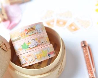 "Dimsum Washi - ""Autumn"" [Fall Washi Tape, Autumn Washi Tape, Planner Accessories, Thanksgiving Washi, Dimsum Washi, Food Washi] - W016"