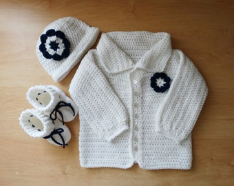 Baby Sweater, Hat and Booties