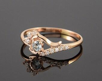 Topaz ring, Gold topaz ring, Blue topaz ring, Blue stone ring, Elegant ring, Dainty ring, Gemstone ring, December birthstone