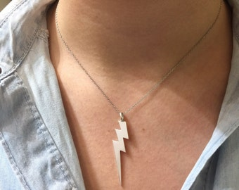 necklaces, Lighting Bolt Necklace, Sterling silver lighting bolt pendant, silver lightening bolt,