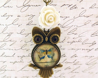 rose cream pendant custom made necklace cream rose necklace bronze owl necklace pendant photo necklace butterfly owl necklace gift