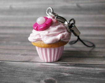 Gift for Best Friend - Fake Food Cupcake - Phone Charm - Polymer Clay Charms - FIMO - Cute Cupcake - Car Accessories - Miniature Sweet