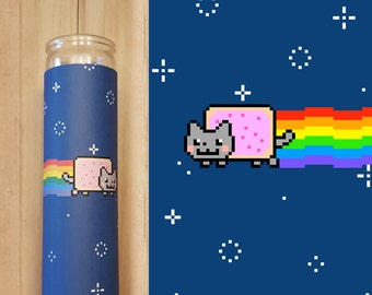 Nyan Cat Candle Wrap - Printable Instant Download for 8 inch glass candle jar
