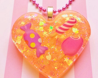 Candy Necklace, Resin Candy Jewelry, Resin Heart Necklace, Resin Necklace, Resin Pendant, Kawaii Jewelry