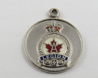 Canadian Legion Sterling Silver Charm or Pendant. BM Co.
