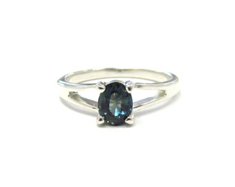 Sterling Silver Natural Non-Heat Treated Blue Green Sapphire Solitaire Ring, size 6 1/2, September birthstone
