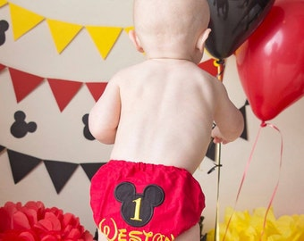 Red Mickey Mouse Monogrammed Diaper Cover