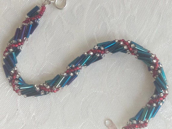 4 of July Patriot Twisted Multi Strand Beaded Bracelet - Czech Glass Beads Silver Lined Ruby Red / Aurora Borealis Sapphire Blue Beads