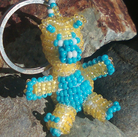 3D  Yellow / Light Blue Beaded Bear Key-Ring with Czech Glass seed beads.