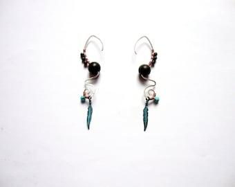Sterling silver pixie tribal feather gemstone earrings