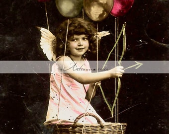 Antique Valentine Cupid Cherub Balloons - Paper Crafts Scrapbook Altered Art - Vintage Valentine's Day Image Pink Victorian Shabby Chic Love