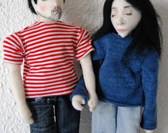 Couple Selfie Dolls - Customized Doll - Soft sculpture -One of a kind dolls - Unique gift