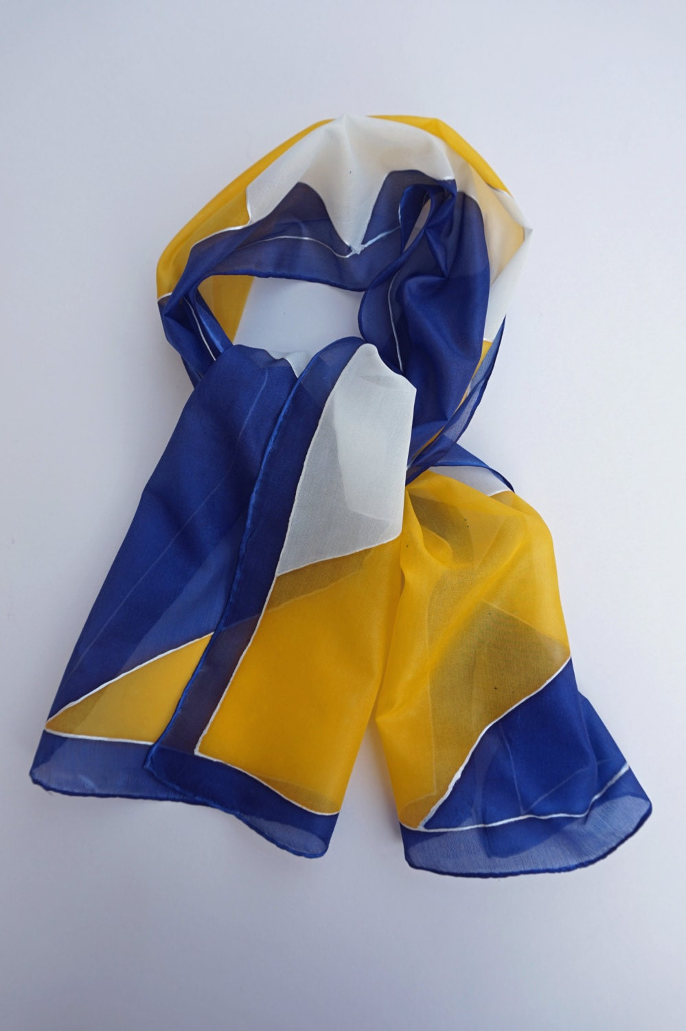Blue And Yellow Bathroom Decor: Hand Painted Silk Scarf Blue Yellow And White Geometric