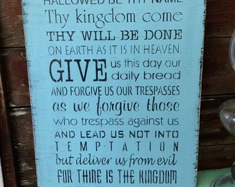 Lord's Prayer Wall Art Wood Sign Handmade Made To Order Our Father