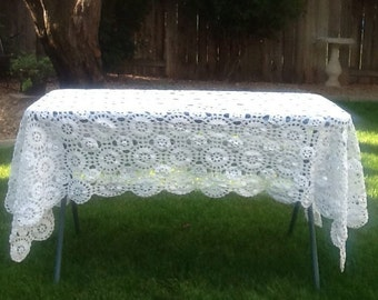 Vintage tablecloth, crochet, white