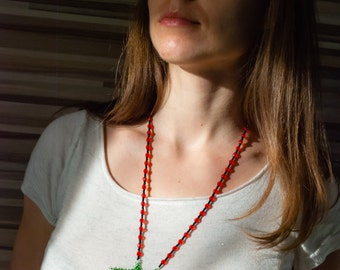 Ukrainian gerdan / Red berries necklace / Gerdan with guelder rose / Ukrainian beadwork / Ukrainian jewellery / Beaded necklace Ukraine